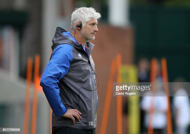 Todd Blackadder the Bath director of rugby looks on during the Aviva Premiership match between Leicester Tigers and Bath Rugby at Welford Road on...