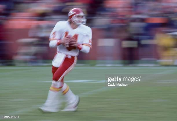 Todd Blackledge of the Kansas City Chiefs attempts a pass during a National Football League game against the San Francisco 49ers played on November...