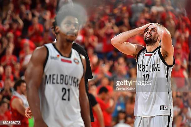 Todd Blanchfield of Melbourne United reacts during the round 17 NBL match between the Perth Wildcats and Melbourne United at Perth Arena on January...
