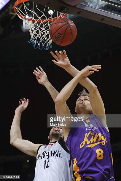 Todd Blanchfield of United and Brad Newley of the Kings compete for the ball during the round 10 NBL match between the Sydney Kings and Melbourne...