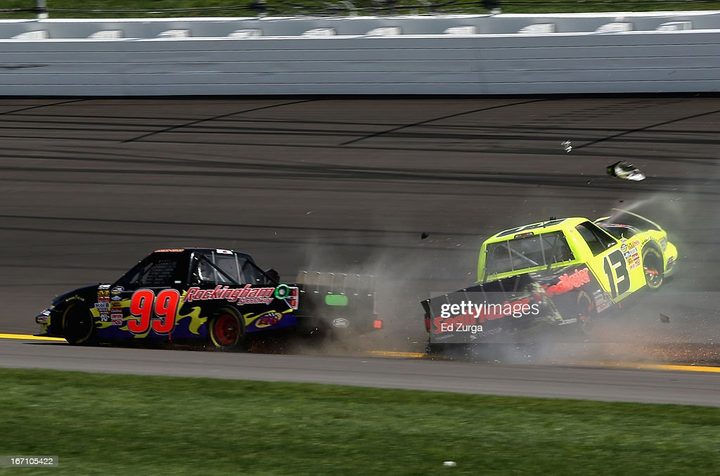 <a gi-track='captionPersonalityLinkClicked' href=/galleries/search?phrase=Todd+Bodine&family=editorial&specificpeople=235683 ng-click='$event.stopPropagation()'>Todd Bodine</a>, driver of the #13 SealMaster Toyota, is involved in an incident as Bryan Silas, driver of the #99 Rockingham Speedway Ford, passes during the NASCAR Camping World Truck Series SFP 250 at Kansas Speedway on April 20, 2013 in Kansas City, Kansas.