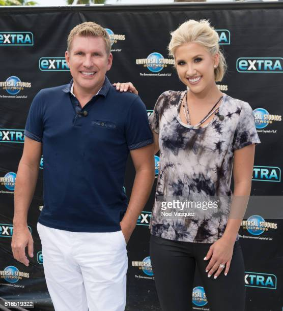 Todd Chrisley and Savannah Chrisley visit 'Extra' at Universal Studios Hollywood on July 18 2017 in Universal City California