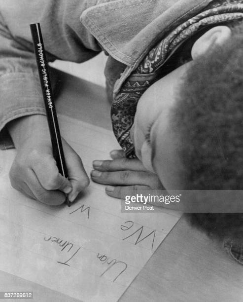 Todd Dodds Does His 'Warmup` Handwriting Exercises in Third Grade Class He's in class taught by Mrs Rita Flanagan at Slavens Elementary School 3000 S...
