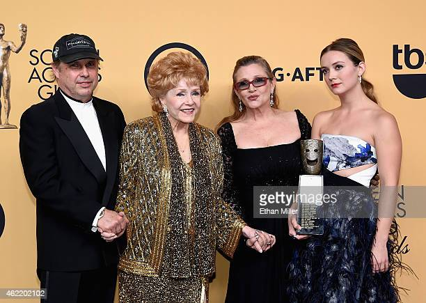 Todd Fisher actress Debbie Reynolds recipient of the Screen Actors Guild Life Achievement Award actresses Carrie Fisher and Billie Lourd pose in the...