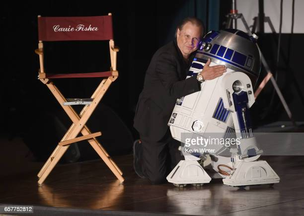 Todd Fisher and R2D2 speaks at Debbie Reynolds and Carrie Fisher Memorial at Forest Lawn Cemetery on March 25 2017 in Los Angeles California