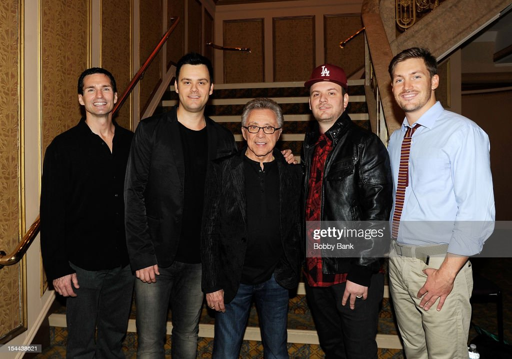 Todd Fournier, Brian Brigham, <a gi-track='captionPersonalityLinkClicked' href=/galleries/search?phrase=Frankie+Valli&family=editorial&specificpeople=585927 ng-click='$event.stopPropagation()'>Frankie Valli</a>, Brandon Brigham and Landon Beard attend <a gi-track='captionPersonalityLinkClicked' href=/galleries/search?phrase=Frankie+Valli&family=editorial&specificpeople=585927 ng-click='$event.stopPropagation()'>Frankie Valli</a> And The Four Seasons 50th Anniversary Celebration at Broadway Theatre on October 19, 2012 in New York City.