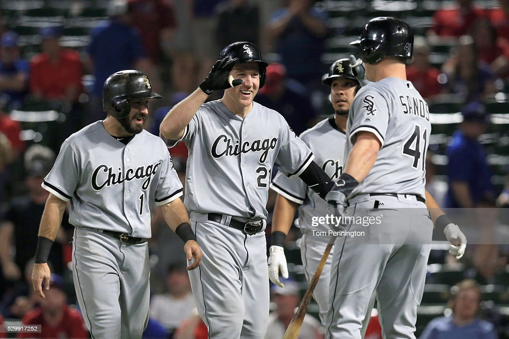 Todd Frazier of the Chicago White Sox celebrates with Adam Eaton of the Chicago White Sox and Jerry Sands of the Chicago White Sox after hitting a...
