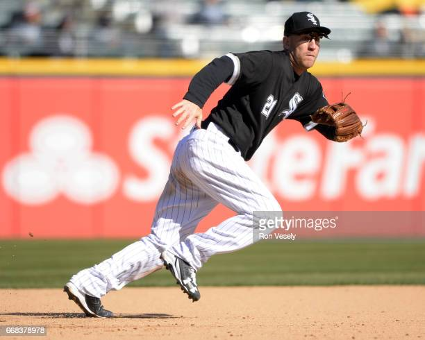 Todd Frazier of the Chicago White Sox fields against the Detroit Tigers on April 6 2017 at Guaranteed Rate Field in Chicago Illinois The White Sox...