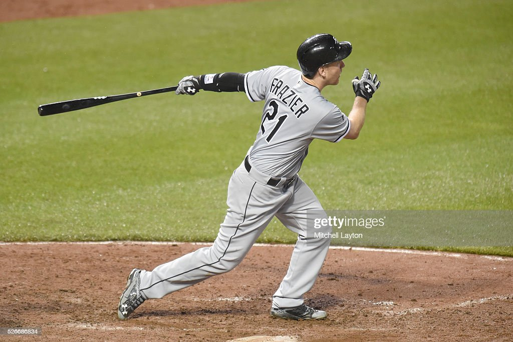 Todd Frazier #21 of the Chicago White Sox hits a two run home run in the eight inning during a baseball game against the Baltimore Orioles at Oriole Park at Camden yards on April 30, 2016 in Baltimore, Maryland.