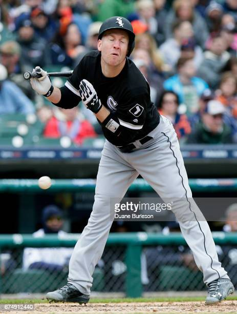 Todd Frazier of the Chicago White Sox is hit by a pitch from Shane Greene of the Detroit Tigers during the eighth inning at Comerica Park on April 29...