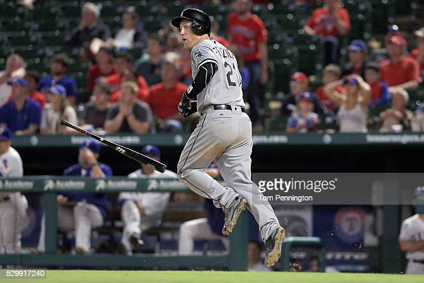 Todd Frazier of the Chicago White Sox looks on after hitting a grand slam home run in against the Texas Rangers in the top of the twelfth inning at...