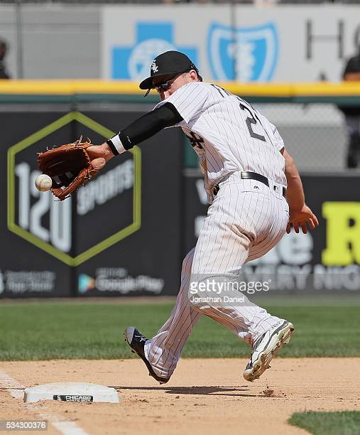 Todd Frazier of the Chicago White Sox makes a backhanded catch of a ball hit by Rajal Davis of the Cleveland Indians in the 7th inning at US Cellular...