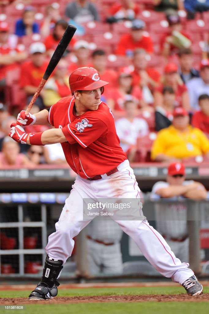 <a gi-track='captionPersonalityLinkClicked' href=/galleries/search?phrase=Todd+Frazier&family=editorial&specificpeople=4778756 ng-click='$event.stopPropagation()'>Todd Frazier</a> #21 of the Cincinnati Reds bats against the Philadelphia Phillies at Great American Ball Park on September 3, 2012 in Cincinnati, Ohio.