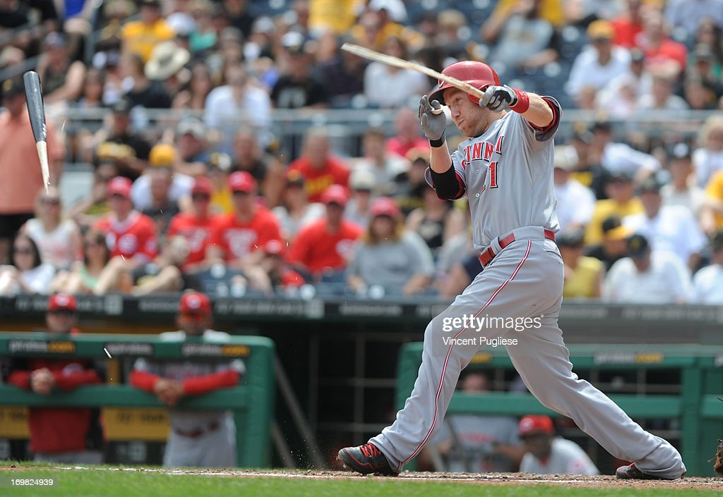 <a gi-track='captionPersonalityLinkClicked' href=/galleries/search?phrase=Todd+Frazier&family=editorial&specificpeople=4778756 ng-click='$event.stopPropagation()'>Todd Frazier</a> #21 of the Cincinnati Reds breaks his bat against the Pittsburgh Pirates at PNC Park on June 2, 2013 in Pittsburgh, Pennsylvania.