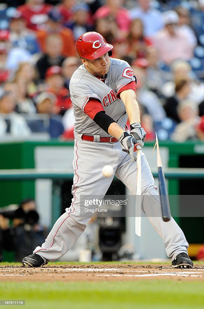 <a gi-track='captionPersonalityLinkClicked' href=/galleries/search?phrase=Todd+Frazier&family=editorial&specificpeople=4778756 ng-click='$event.stopPropagation()'>Todd Frazier</a> #21 of the Cincinnati Reds breaks his bat fouling off a pitch in the second inning against the Washington Nationals at Nationals Park on April 25, 2013 in Washington, DC.