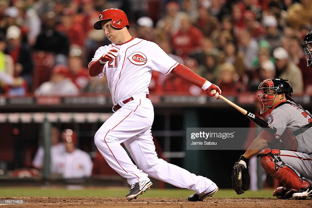 <a gi-track='captionPersonalityLinkClicked' href=/galleries/search?phrase=Todd+Frazier&family=editorial&specificpeople=4778756 ng-click='$event.stopPropagation()'>Todd Frazier</a> #21 of the Cincinnati Reds follows through on a hit against the Washington Nationals in the fifth inning at Great American Ball Park on April 5, 2013 in Cincinnati, Ohio. Frazier had two of the Reds' six home runs in a 15-0 win over the Nationals.
