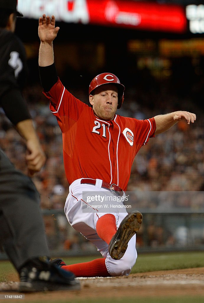 <a gi-track='captionPersonalityLinkClicked' href=/galleries/search?phrase=Todd+Frazier&family=editorial&specificpeople=4778756 ng-click='$event.stopPropagation()'>Todd Frazier</a> #21 of the Cincinnati Reds scores on a two-run double by Corky Miller #37 in the second inning against the San Francisco Giants at AT&T Park on July 23, 2013 in San Francisco, California.