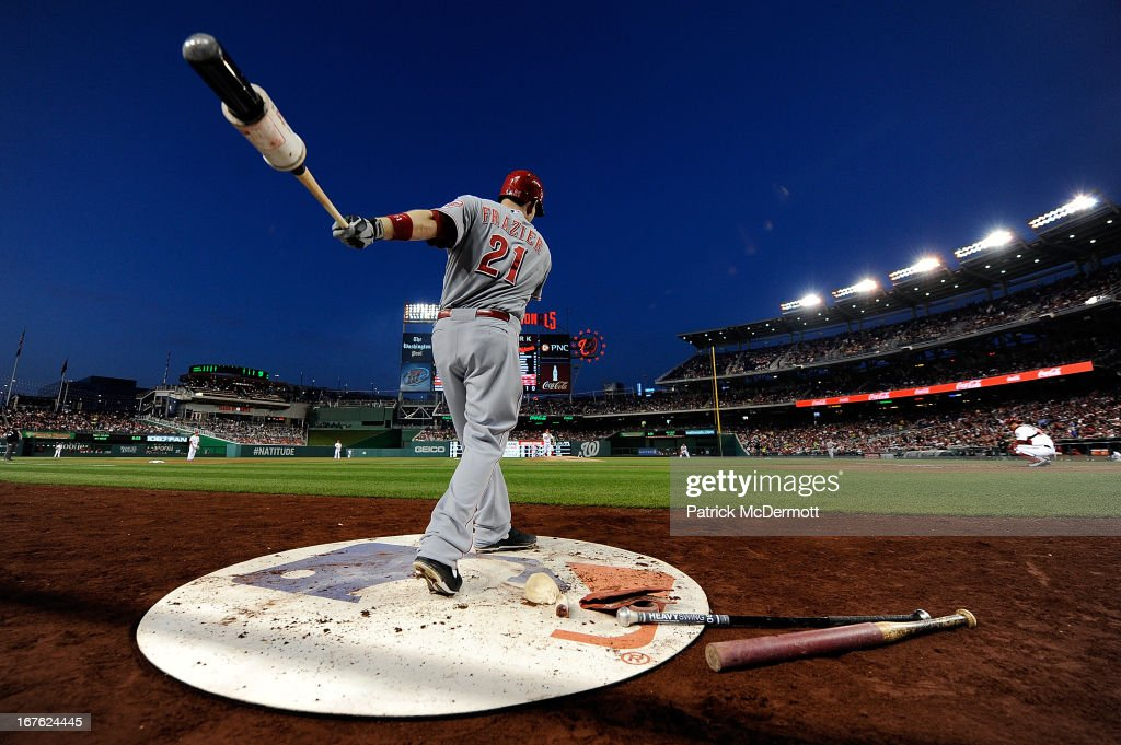 <a gi-track='captionPersonalityLinkClicked' href=/galleries/search?phrase=Todd+Frazier&family=editorial&specificpeople=4778756 ng-click='$event.stopPropagation()'>Todd Frazier</a> #21 of the Cincinnati Reds waits on deck during the fifth inning of a game against the Washington Nationals at Nationals Park on April 26, 2013 in Washington, DC.