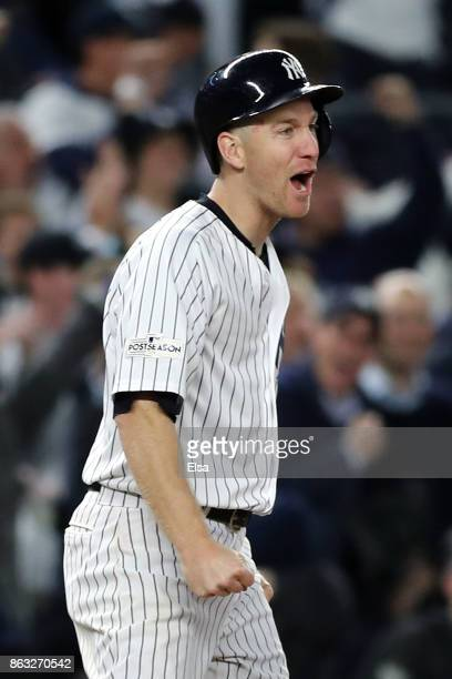 Todd Frazier of the New York Yankees reacts after a advancing to third base in the eighth inning against the Houston Astros during Game Four of the...