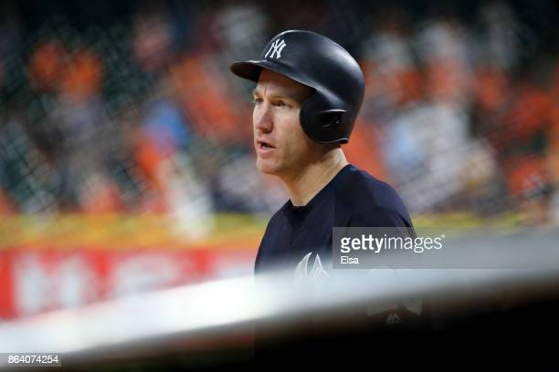 Todd Frazier of the New York Yankees takes batting practice prior to Game Six of the American League Championship Series against the New York Yankees...