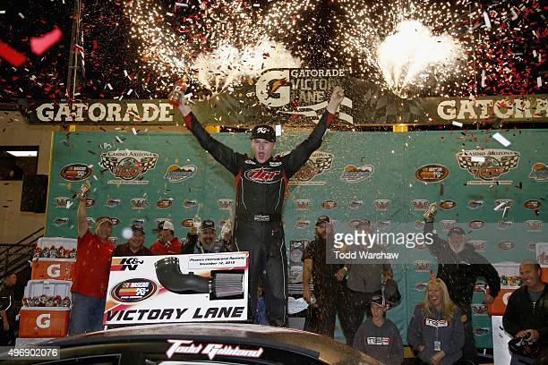 Todd Gilliland driver of the Frontline Enterprises Toyota celebrates in victory lane after winning the NASCAR KN Pro Series West Casino Arizona 100...