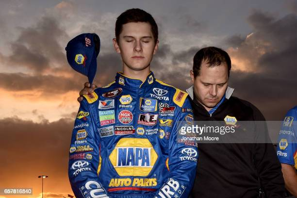 Todd Gilliland driver of the NAPA Auto Parts Toyota and David Gilliland stand on the grid during the invocation before the KN West Series Napa Twins...