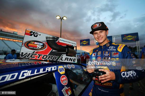 Todd Gilliland driver of the NAPA Auto Parts Toyota celebrates in victory lane following his NASCAR KN Pro Series East United Site Services 70...
