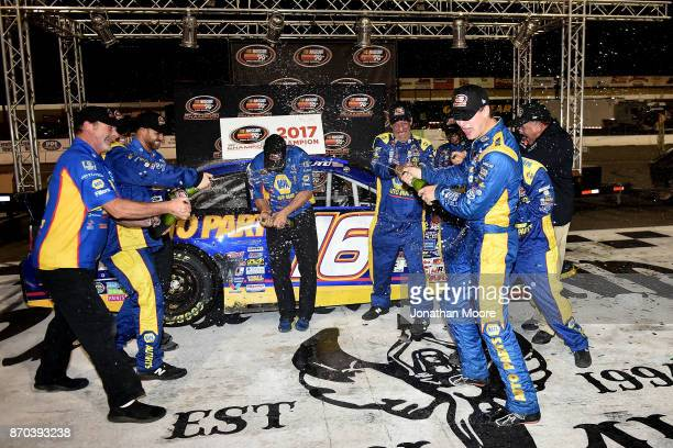 Todd Gilliland driver of the NAPA Auto Parts Toyota celebrates in victory lane after being named 2017 NASCAR KN Pro Series West 2017 Champion after...