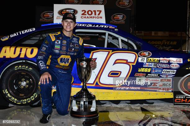 Todd Gilliland driver of the NAPA Auto Parts Toyota in victory lane after being named 2017 NASCAR KN Pro Series West 2017 Champion after the NASCAR...