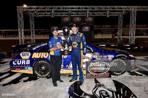 Todd Gilliland driver of the NAPA Auto Parts Toyota in victory lane with David Gilliland after being named 2017 NASCAR KN Pro Series West 2017...