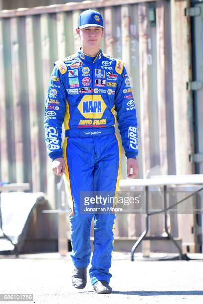 Todd Gilliland driver of the NAPA Auto Parts Toyota walks in the garage during practice for the NASCAR KN Pro Series 150 at National Orange Show...