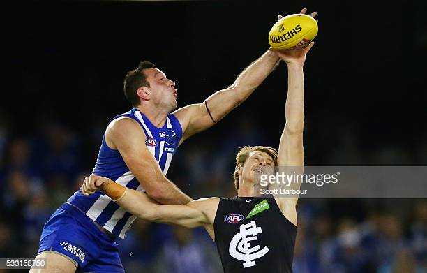 Todd Goldstein of the Kangaroos and Daniel Gorringe of the Blues compete for the ball during the round nine AFL match between the North Melbourne...