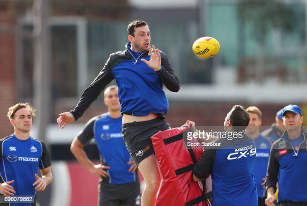 Todd Goldstein of the Kangaroos competes for the ball during a North Melbourne Kangaroos AFL training session at Arden Street Ground on June 15 2017...
