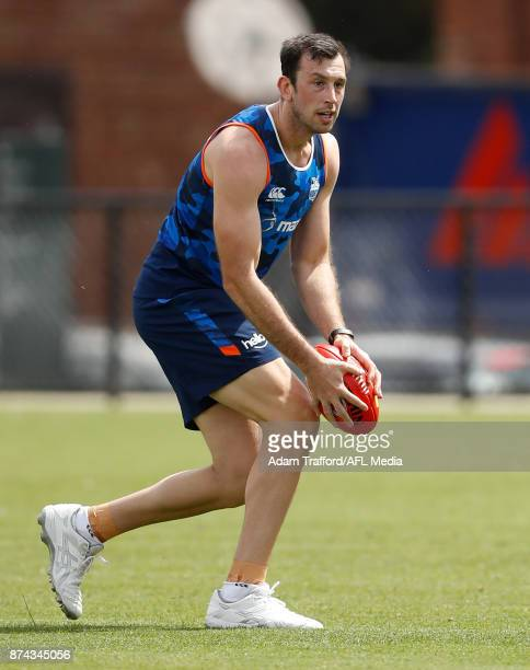 Todd Goldstein of the Kangaroos in action during the North Melbourne Kangaroos training session at Arden St on November 15 2017 in Melbourne Australia