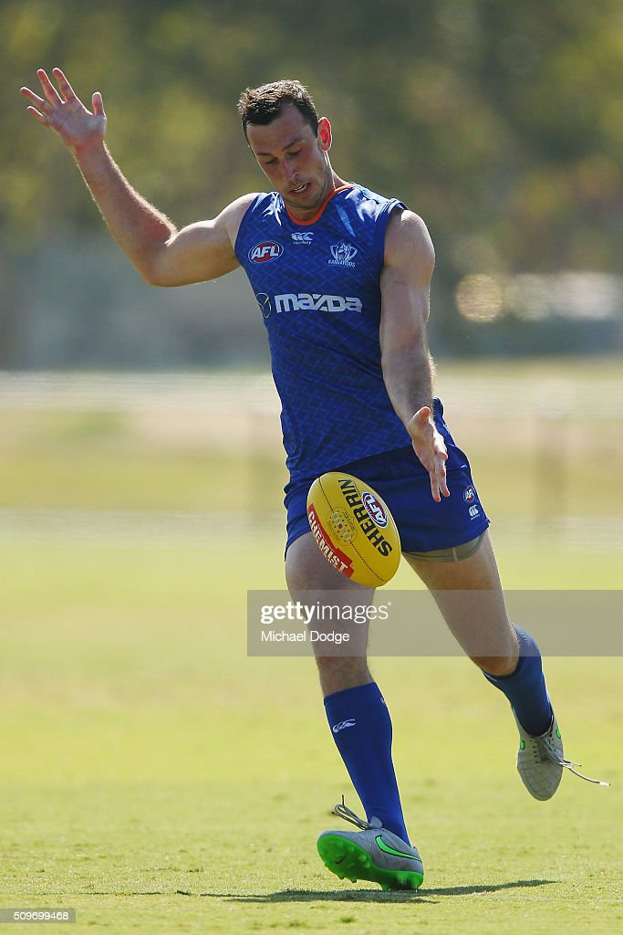 Todd Goldstein of the Kangaroos kicks the ball during the North Melbourne AFL Intra-Club match at Arden Street Ground on February 12, 2016 in Melbourne, Australia.