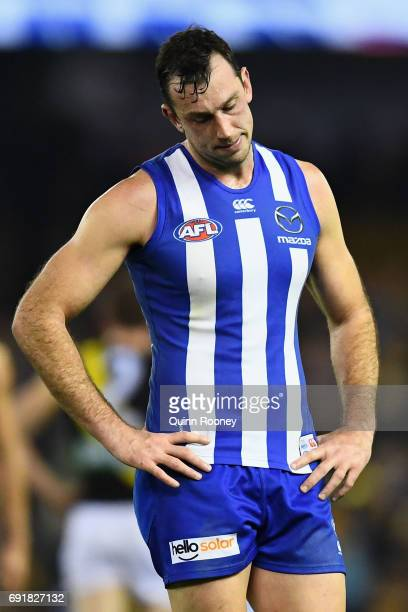 Todd Goldstein of the Kangaroos looks dejected after losing the round 11 AFL match between the North Melbourne Kangaroos and the Richmond Tigers at...