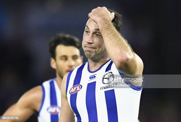 Todd Goldstein of the Kangaroos looks dejected after losing the round 14 AFL match between the Western Bulldogs and the North Melbourne Kangaroos at...
