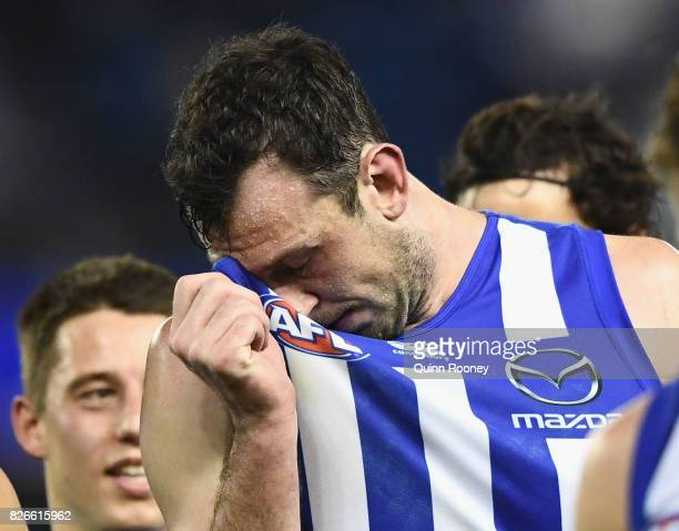 Todd Goldstein of the Kangaroos looks dejected after losing the round 20 AFL match between the North Melbourne Kangaroos and the Collingwood Magpies...