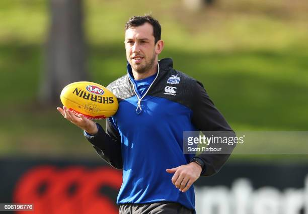Todd Goldstein of the Kangaroos looks on during a North Melbourne Kangaroos AFL training session at Arden Street Ground on June 15 2017 in Melbourne...