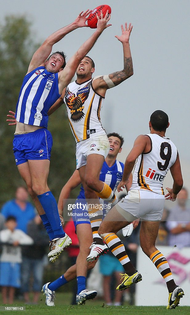 Todd Goldstein of the Kangaroos marks the ball during the AFL NAB Cup match between the North Melbourne Kangaroos and the Hawthorn Hawks at Highgate Recreational Reserve on March 16, 2013 in Craigieburn, Australia.