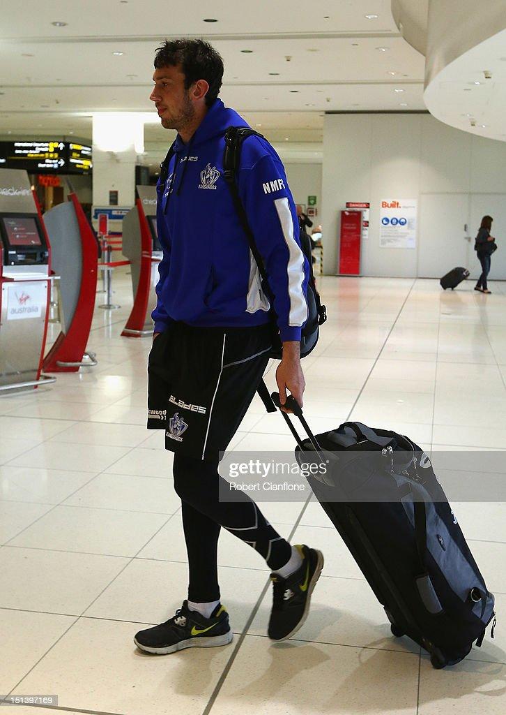 Todd Goldstein of the North Melbourne Kangaroos arrives at Melbourne Airport on September 7, 2012 in Melbourne, Australia.