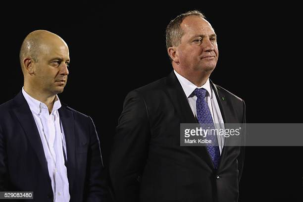 Todd Greenberg and deputy prime minister Barnaby Joyce watch on during the presentation ceremony after the NSW Origin match between City and Country...