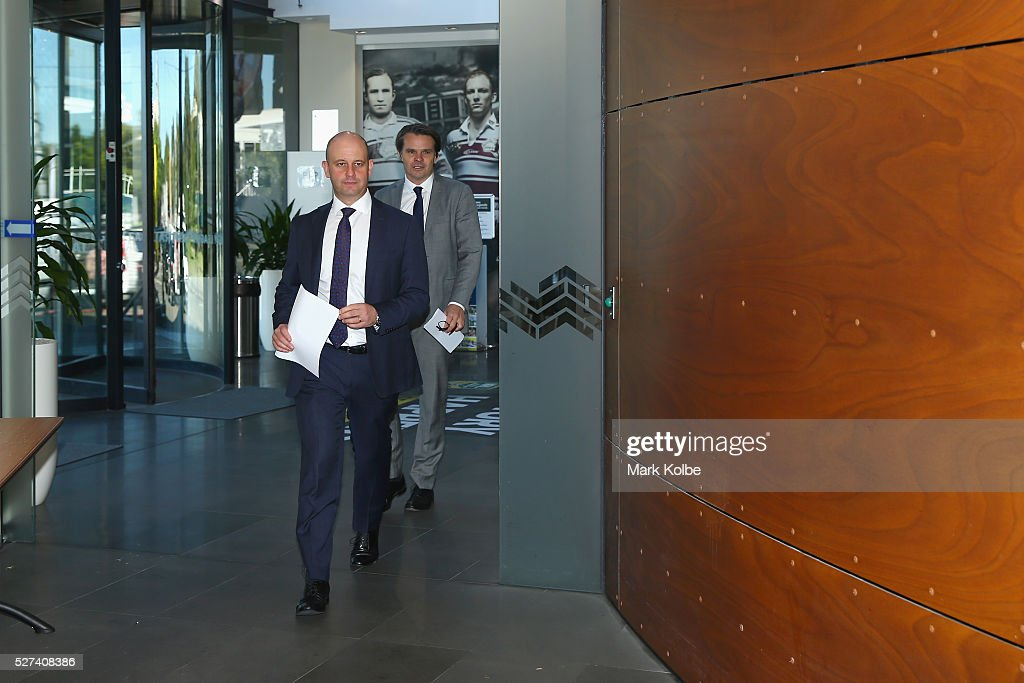 Todd Greenberg and NRL Head of Integrity Nick Weeks arrive for an NRL press conference at NRL Headquarters on May 3, 2016 in Sydney, Australia. The NRL announced today preliminary findings relating to salary cap breaches by the Parramatta Eels dating back to 2013. The NRL issued breach notices to the Parramatta Eels today which would see the club lose accumulated points, be fined, and lose the 2016 Auckland Nines title.