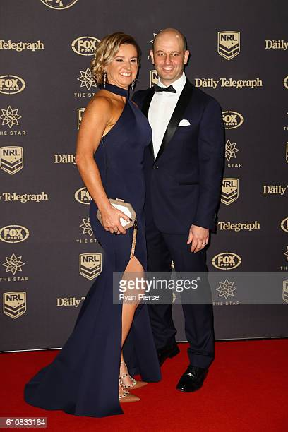 Todd Greenberg and wife Lisa Greenberg arrive at the 2016 Dally M Awards at Star City on September 28 2016 in Sydney Australia