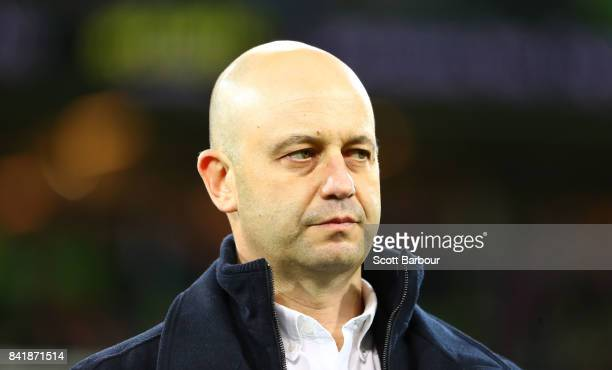 Todd Greenberg Chief Executive Officer of the National Rugby League looks on after the round 26 NRL match between the Melbourne Storm and the...