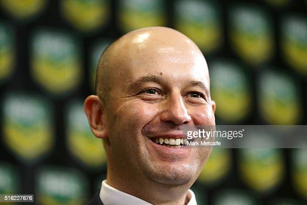 Todd Greenberg smiles during a NRL press conference at NRL Headquarters on March 18 2016 in Sydney Australia