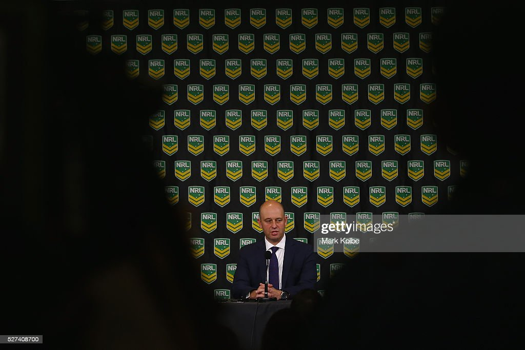 Todd Greenberg speaks to the media during an NRL press conference at NRL Headquarters on May 3, 2016 in Sydney, Australia. The NRL announced today preliminary findings relating to salary cap breaches by the Parramatta Eels dating back to 2013. The NRL issued breach notices to the Parramatta Eels today which would see the club lose accumulated points, be fined, and lose the 2016 Auckland Nines title.