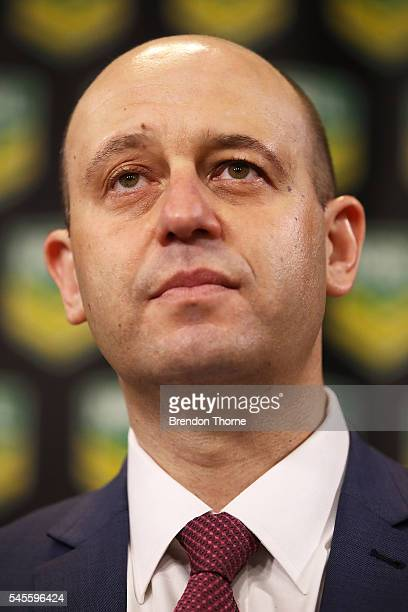 Todd Greenberg speaks to the media during an NRL press conference at the NRL Headquarters on July 9 2016 in Sydney Australia The Parramatta Eels were...
