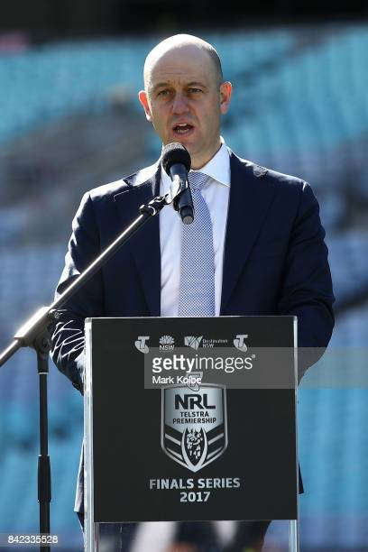 Todd Greenberg the Chief Executive Officer of the National Rugby League speaks to the media during the 2017 NRL Finals Series Launch at ANZ Stadium...