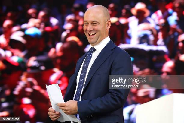Todd Greenberg walks onstage during the 2017 NRL Season Launch at Martin Place on February 23 2017 in Sydney Australia